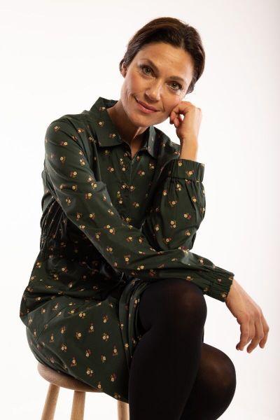 ORGANIC - Ditte Dress Black green MINIFLOWER
