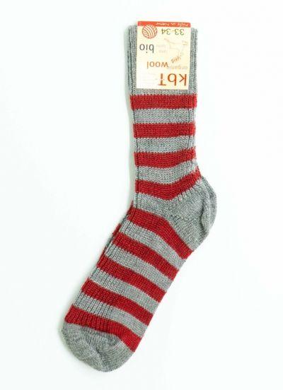 Nuno Socks Stripes Heather Grey/Red