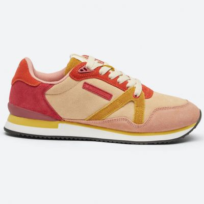 M.MOUSTACHE André Running Sneakers Suede Rose Nude Jaune