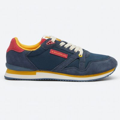 M.MOUSTACHE André Running Sneakers Suede Marine Rouge Moutarde