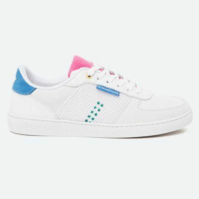 M.MOUSTACHE Marie Low Sneakers Suede Bleu Rose Et Gris