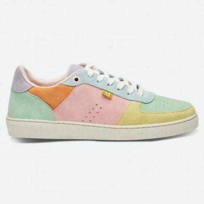 M.MOUSTACHE Marie Low Sneakers Suede Citron Vert Deau Ciel