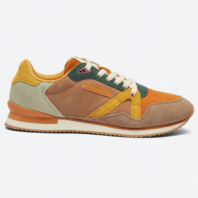 M.MOUSTACHE André Running Sneakers Suede Taupe Cognac Moutarde