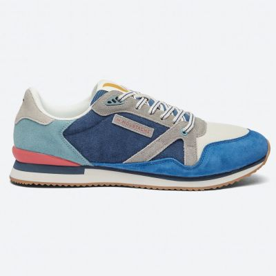 M.MOUSTACHE André Running Sneakers Suede Bleu Ecru Gris