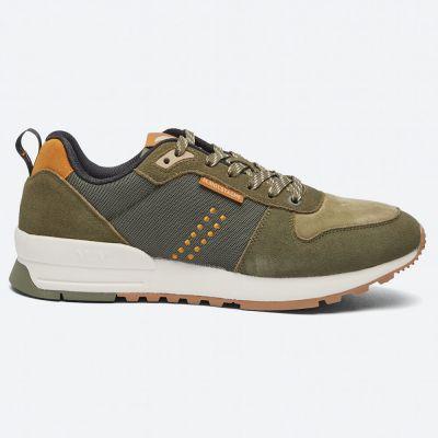M.MOUSTACHE Daniel Running Sneakers Suede Et Mesh Kaki Cognac