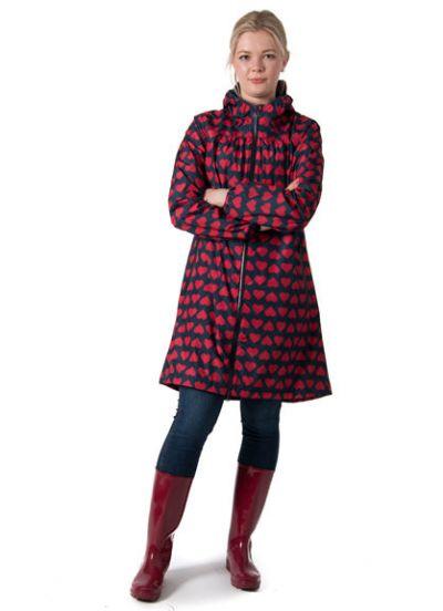 Helen Rainjacket Navy/Red BIG Hearts