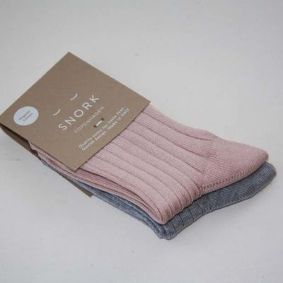 SNORK Organic Rib Socks 2-Pack Dusty Rose/Grey Melange