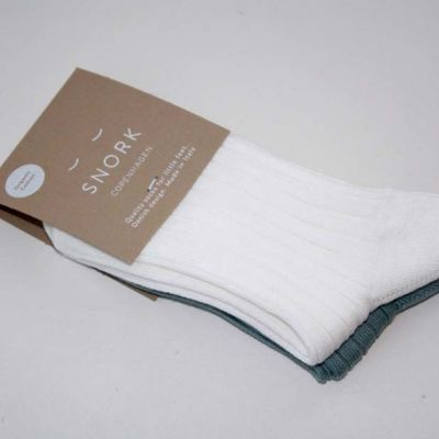 SNORK Organic Rib Socks 2-Pack Green/Off-White