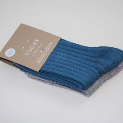 SNORK Organic Rib Socks 2-Pack Dusty Blue/Grey Melange