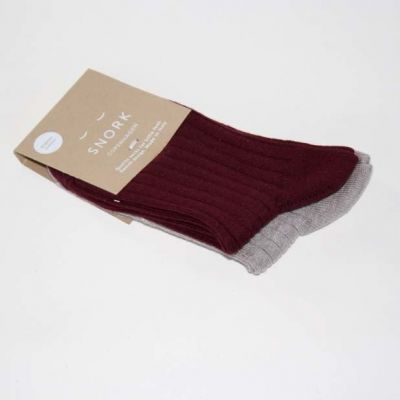 SNORK Organic Rib Socks 2-Pack Burgundy/Earth