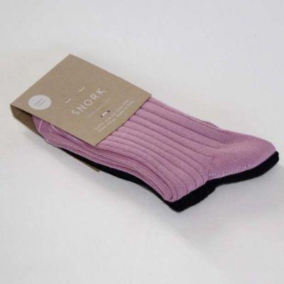 SNORK Organic Rib Socks 2-Pack Vintage Pink/Black