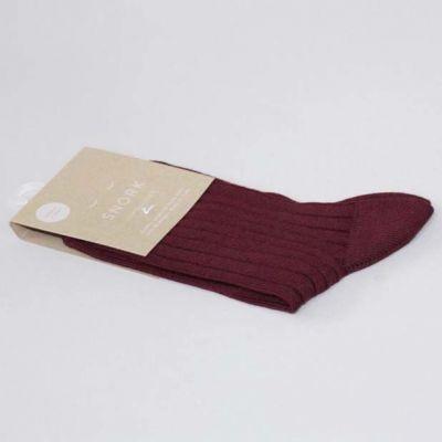 SNORK Organic Rib Socks Burgundy