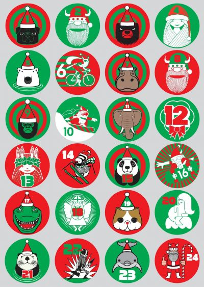Julestickers Assorteret