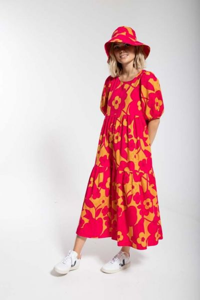 Juli Dress Honey/dk fuchsia BLOOM BOOM