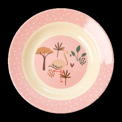 Rice Melamin Børneskål Pink JUNGLE ANIMALS