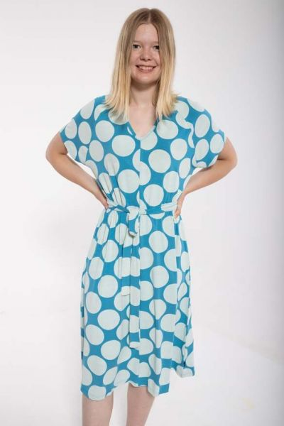 Madsen Dress Dusty blue/chalk MEGADOTS