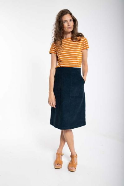 Maren Cord Skirt Dusty Navy