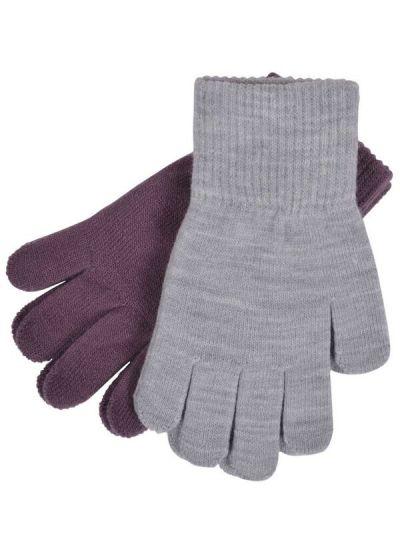 Melton 2-Pak Fingervanter Lila/Grey