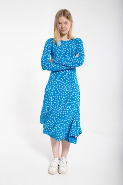 Sigrid Dress Bright blue/chalk FUNDOTS
