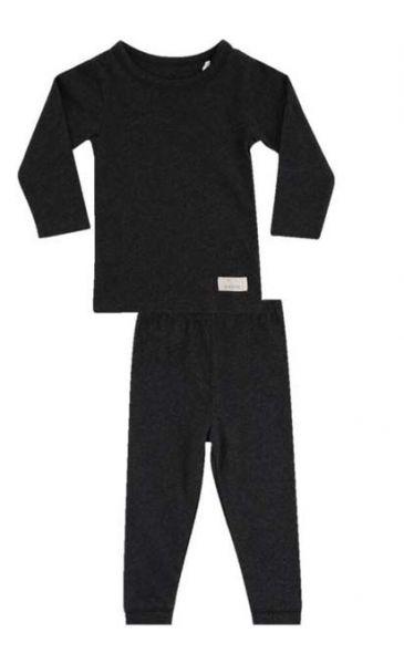 SNORK LS Lounge Pyjamas Black Melange Unisex