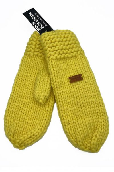 Håndstrikket Merinould Vanter Yellow Sheen